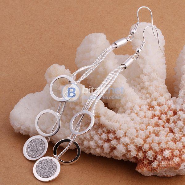 Дамски дълги висящи обеци кръгове сребърно покритие 925 бижута накити