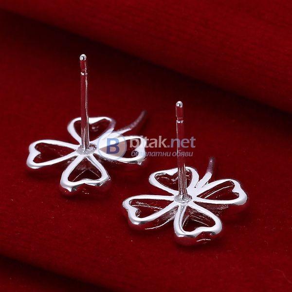 Дамски обеци с винчета детелинки обици детелинка сребърно покритие 925