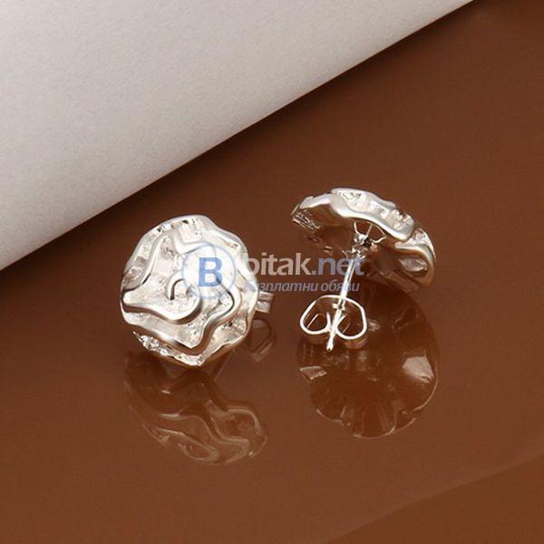 Дамски обеци с винтчета роза сребърно покритие 925