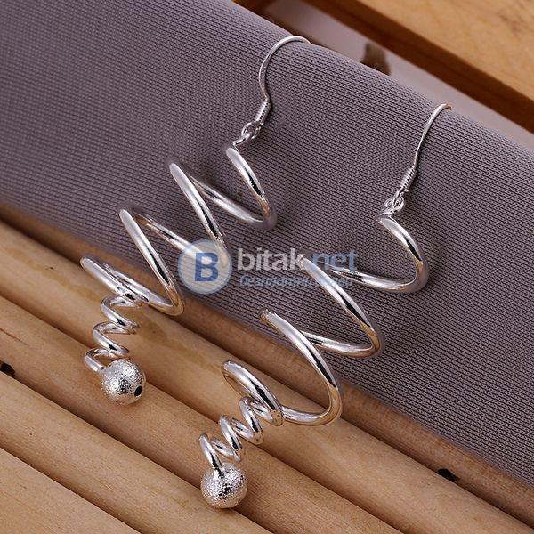 Дамски висящи обеци спирала обеци за бал дълги обеци сребърно покритие 925