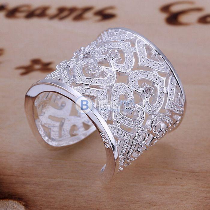 Дамски пръстен Сърца с камъчета сребърно покритие 925 масивен пръстен