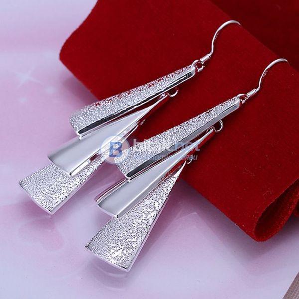 Дамски дълги обеци за бал обеци Плочки сребърно покритие 925 висящи обеци