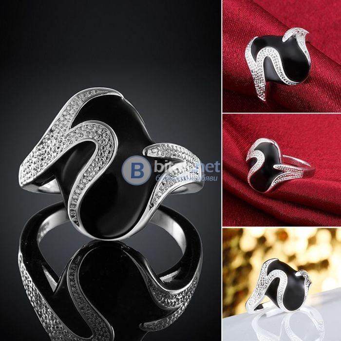 Дамски пръстен Черни вълни сребърно покритие 925 модерен аксесоар