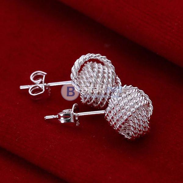 Дамски обеци Кълбо сребърно покритие 925 обеци с винтчета