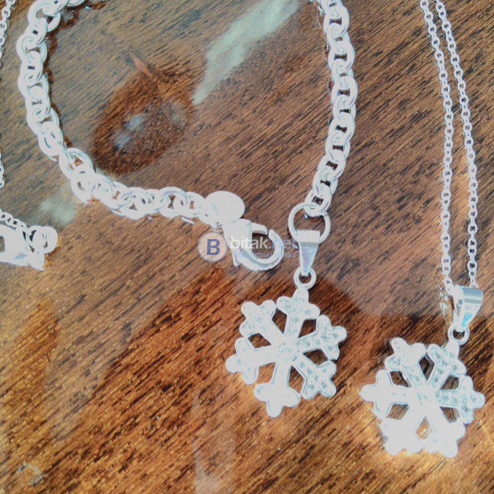 Комплект бижута Снежинки колие и гривна тип синджир сребърно покритие 925