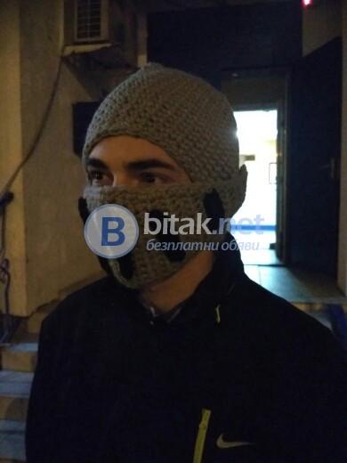 Плетена сива зимна шапка Рицар гладиатор забавна мъжка шапка детска