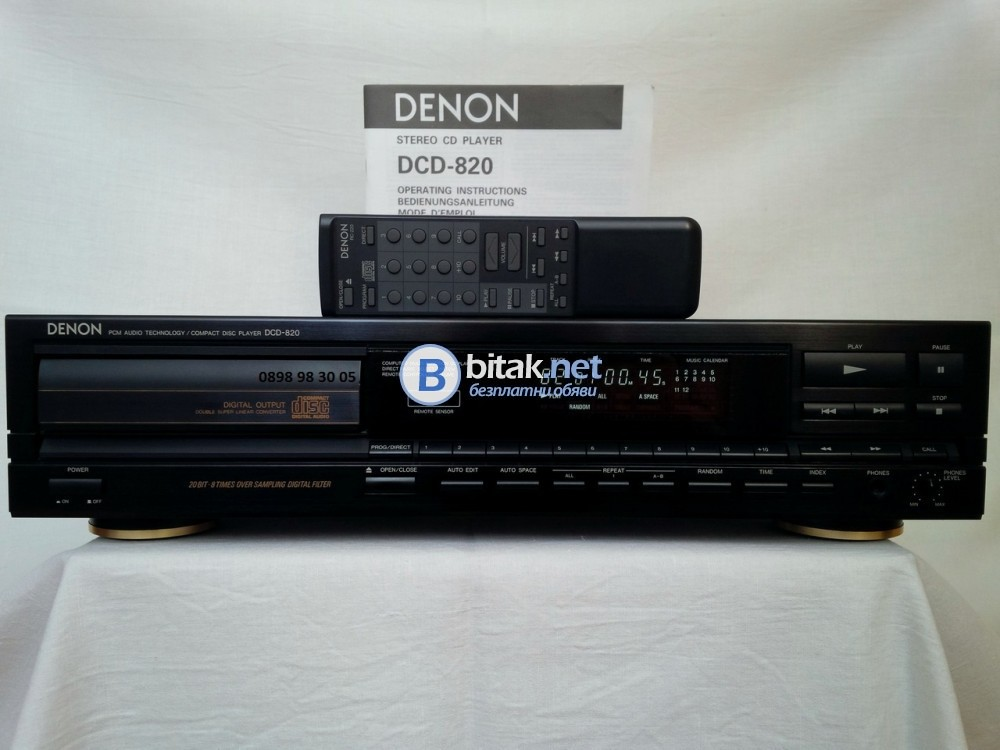 DENON DCD-820, голям модел CD плеър с 2 дака Burr-Brown PCM56P, THD: 0.004%, 102 dB, $500