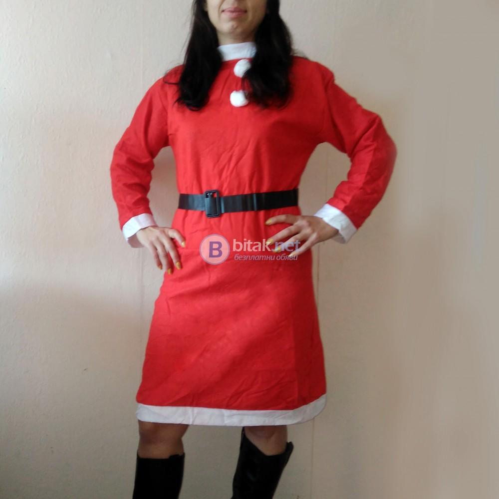 Дамски костюм на Снежанка театрален коледен сукман рокля