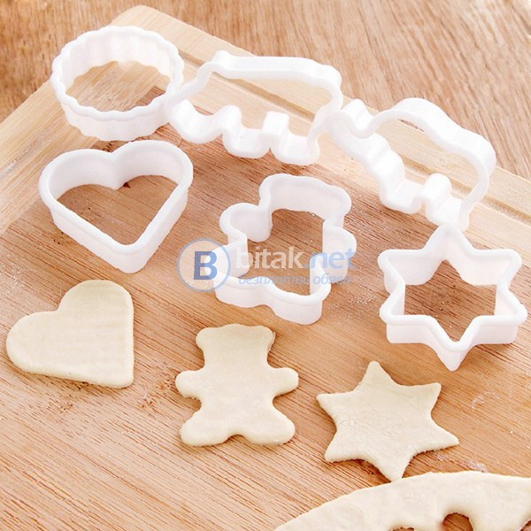 6 бр пластмасови резци форми за домашни сладки меденки бисквити фондан