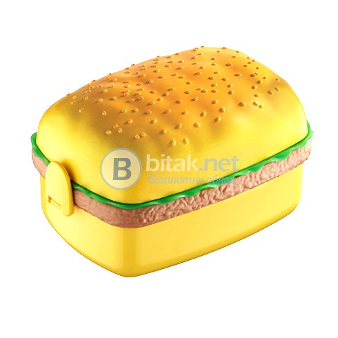 Детска кутия за обяд храна сандвич с 3 прегради форма на хамбургер