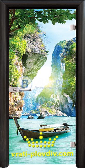 Стъклена интериорна врата Print G 13-15 Thailand, каса Венге