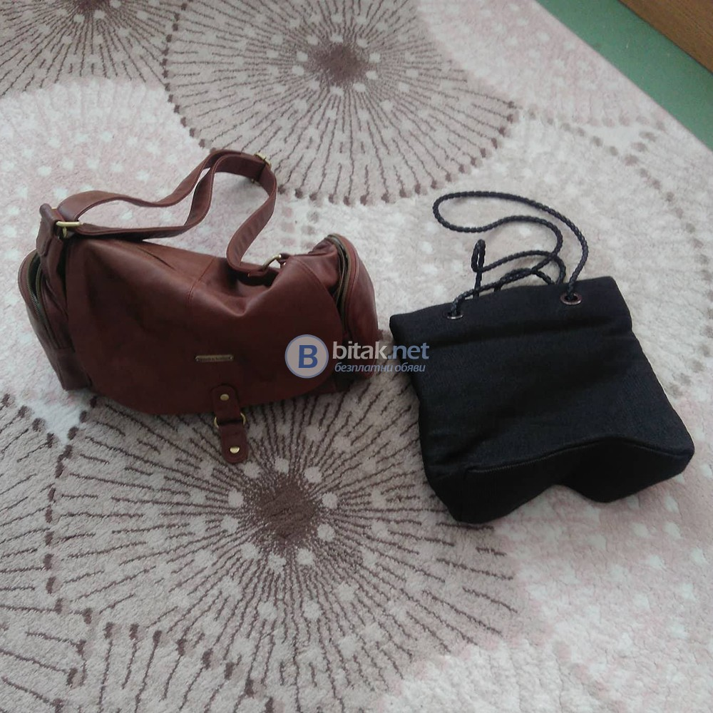 Дамска кожена чанта Timi & Leslie и черна плетена чанта
