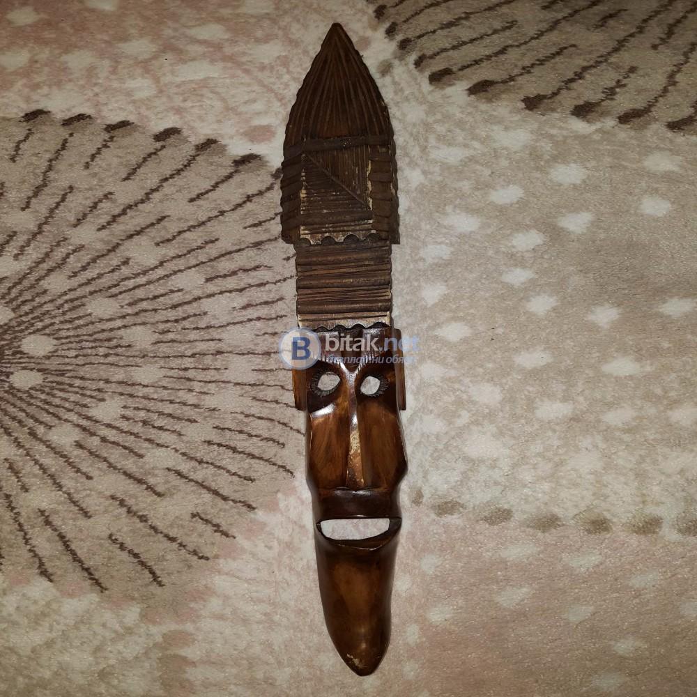 Екзотична дървена маска за стена ретро декор дърворезба