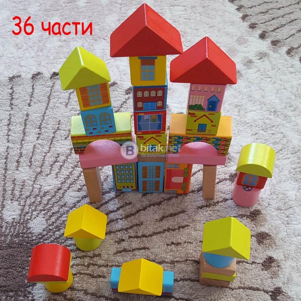 Дървени блокчета Монтесори пъзел цветни строителни кубчета в раница