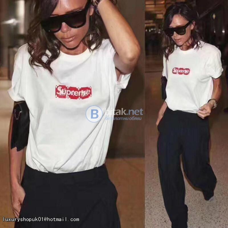 ПРОМО ЦЕНА! Дамски тениски с SUPREME YSL принт - 2 МОДЕЛА реплика. Поръчай с ТВОЯ идея за модела