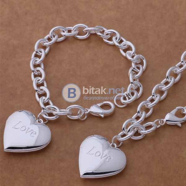 Комплект бижута колие и гривна с висулка голямо сърце LOVE сребърно покритие 925