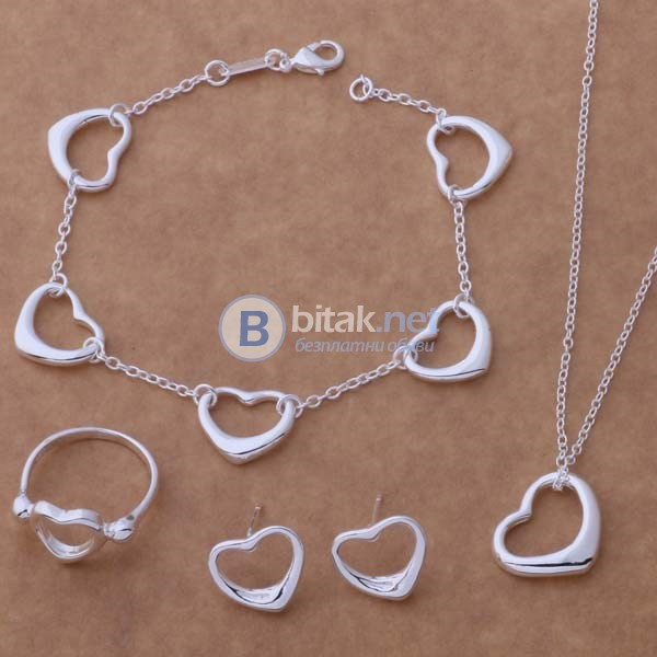 Комплект бижута малки сърца колие пръстен гривна обеци с винтчета сребърно покритие 925