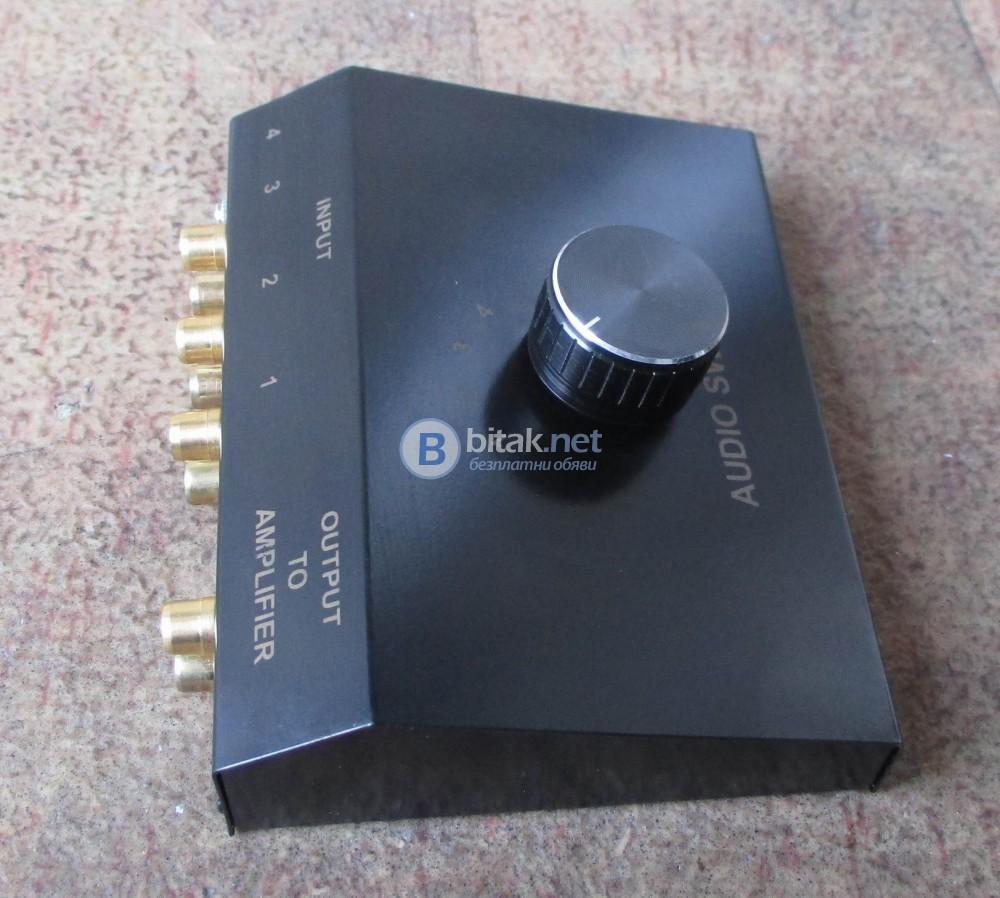 DYNTRONIC – Четири канален комутатор с три входа на чинчове и един на стерео жак – 3.5 мм.за лаптоп