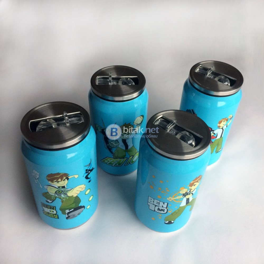 Детски термос чаша BEN TEN с биберон за горещи и студени напитки 350мл