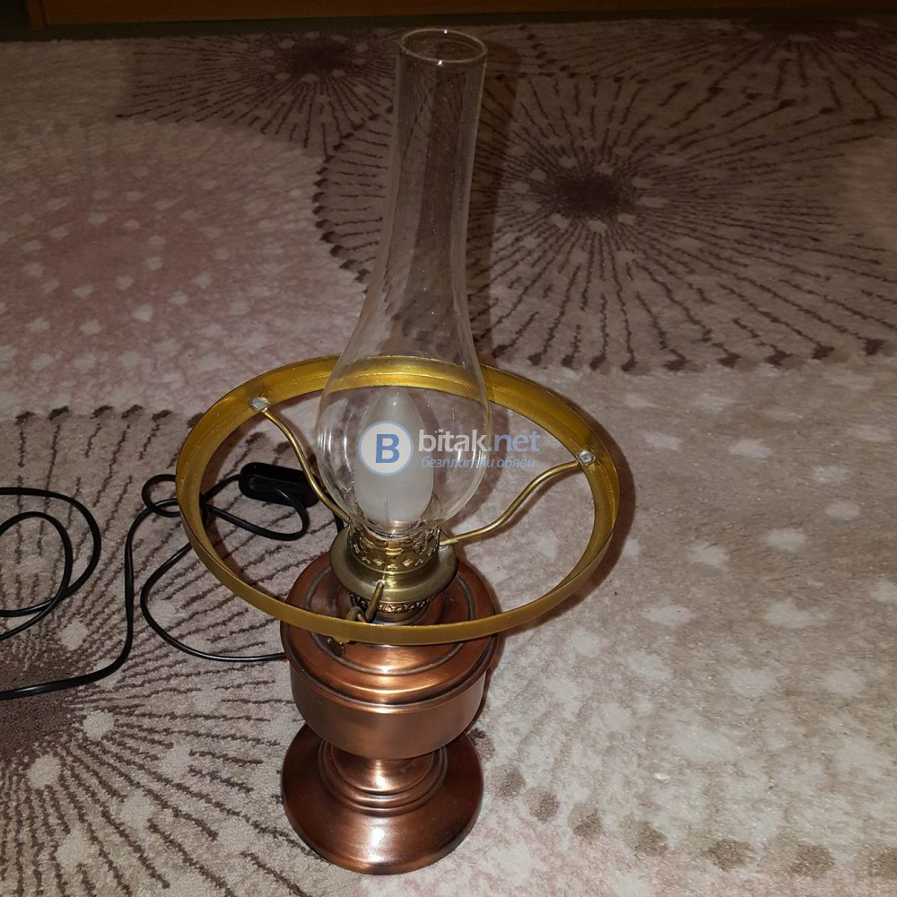 Декоративна медна газова нощна лампа с лед крушка ретро декор за дома