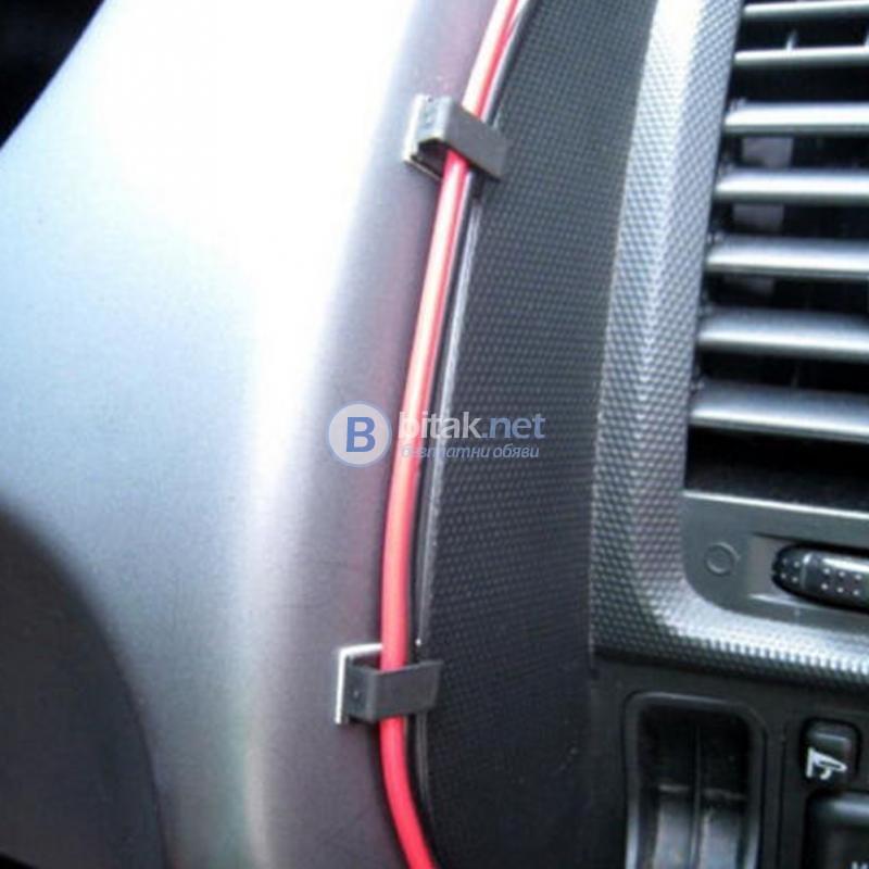 Скоби за USB кабел за кола самозалепващи клипси за закрепване 40 броя