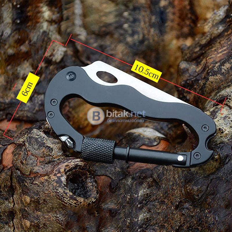 Нов Карабинер мултифункционален 5 в 1 нож отверка отварачка къмпинг инструмент