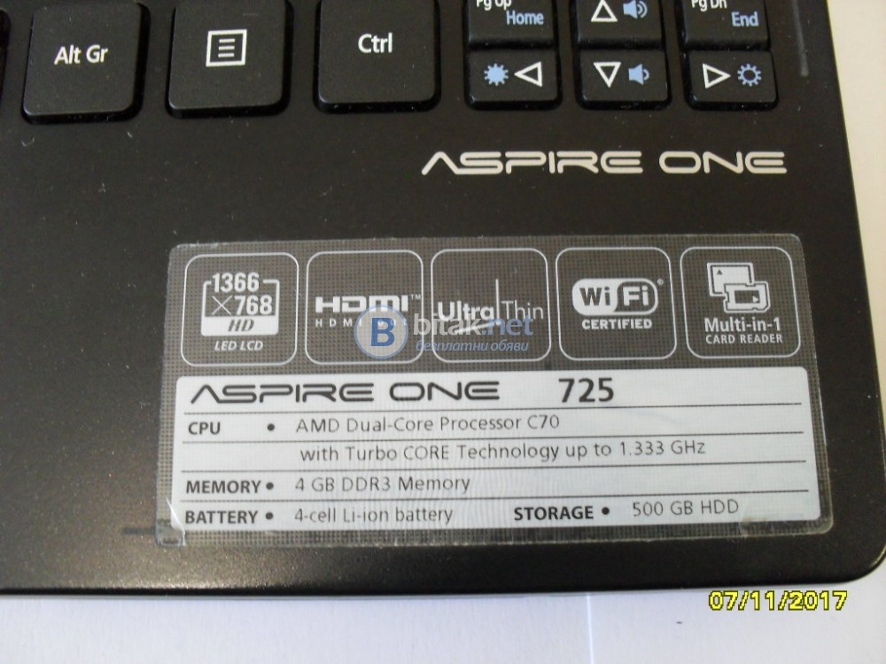 Продавам лаптоп ACER ASPIRE ONE 725