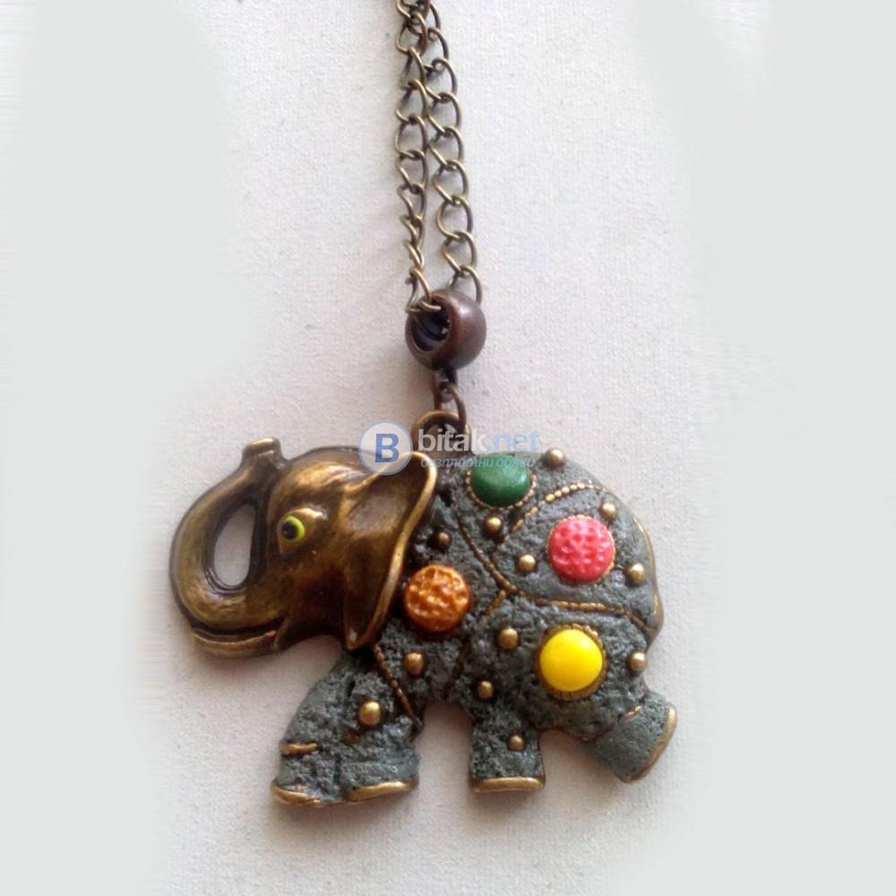 Винтидж стил колие медальон Слонче ръчна изработка