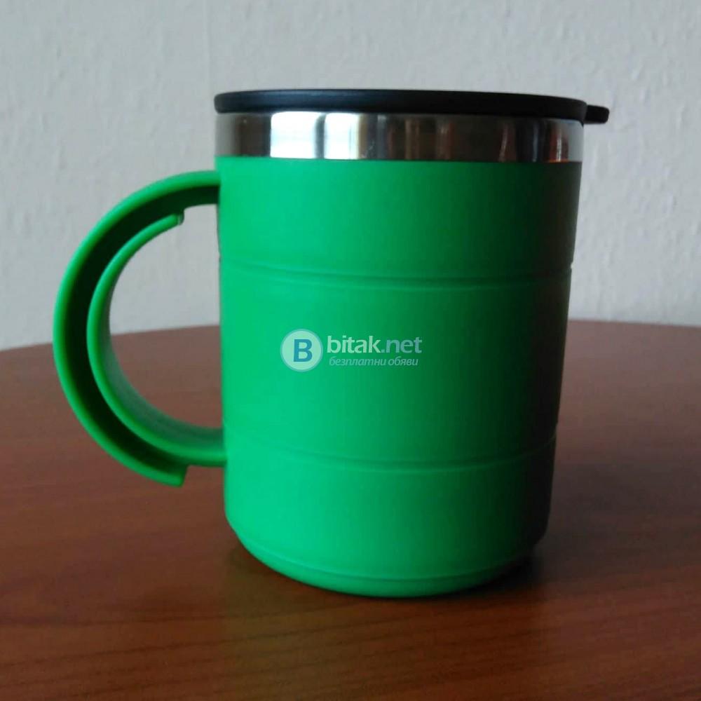 Термо чаша за кафе чай термочаша с дръжка за горещи напитки