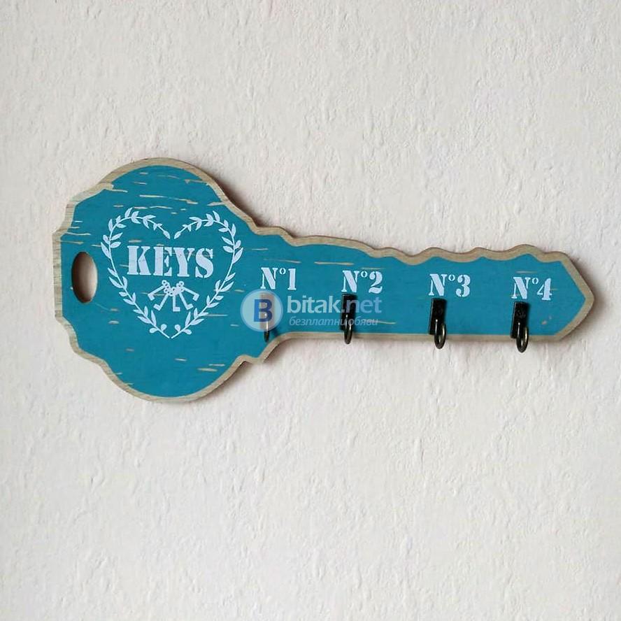 Декоративна дървена закачалка за ключове с форма на ключ в стил винтидж