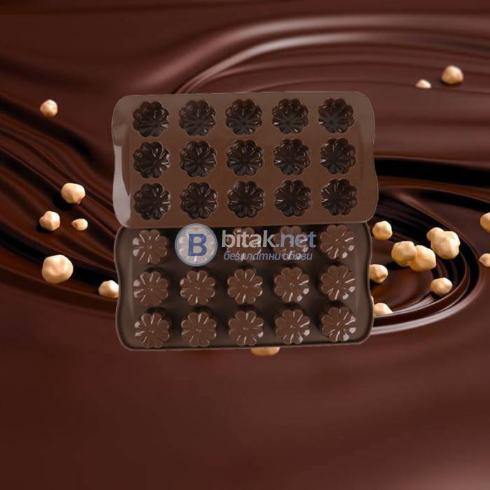 Силиконови форми за шоколадови бонбони дребни сладки цветенца