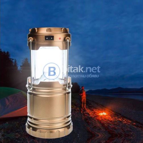 Сгъваем соларен фенер за градина къмпинг лампа с дръжка 6 Led диода