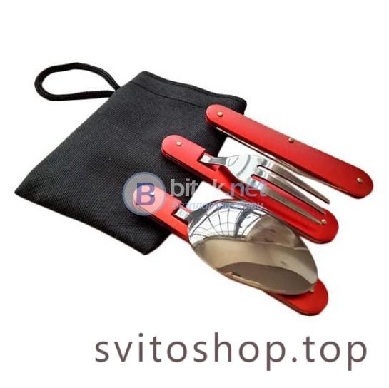 Комплект туристически сгъваеми прибори за къмпинг нож вилица лъжица с отварачка