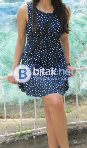 ЧИСТО НОВА!!! Синя рокля на бели точки.