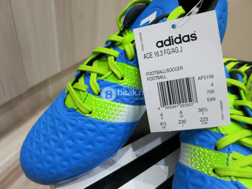 Футболни обувки ADIDAS Ace 16.3 FG/AG J, нови, в кутия, с етикет, номер 36.7