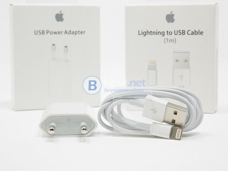Оригинално зарядно - адаптер и кабел за iPhone 5, 5S, 5C, 6, 6 Plus, 6S, 6S Plus, SE, 7, 7Plus, 8, X
