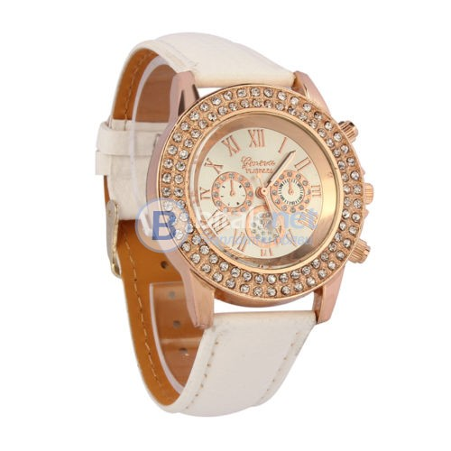 Красив, Стилен, Луксозен дамски часовник, кожена каишка,ПОСЛЕДНА БРОЙКА