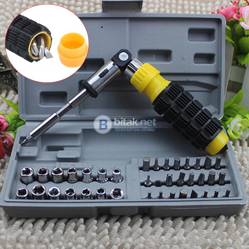 Комплект гидория инструменти гедоре 41 части накрайници в кутия