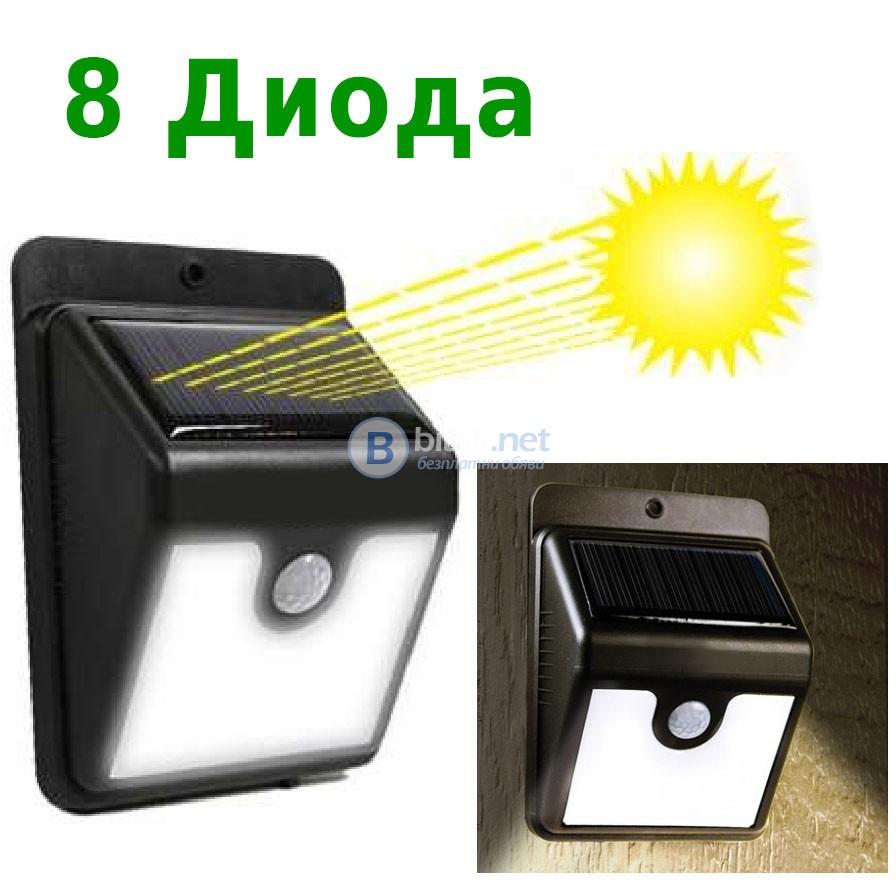 Водоустойчива стенна соларна LED лампа със сензор за движение