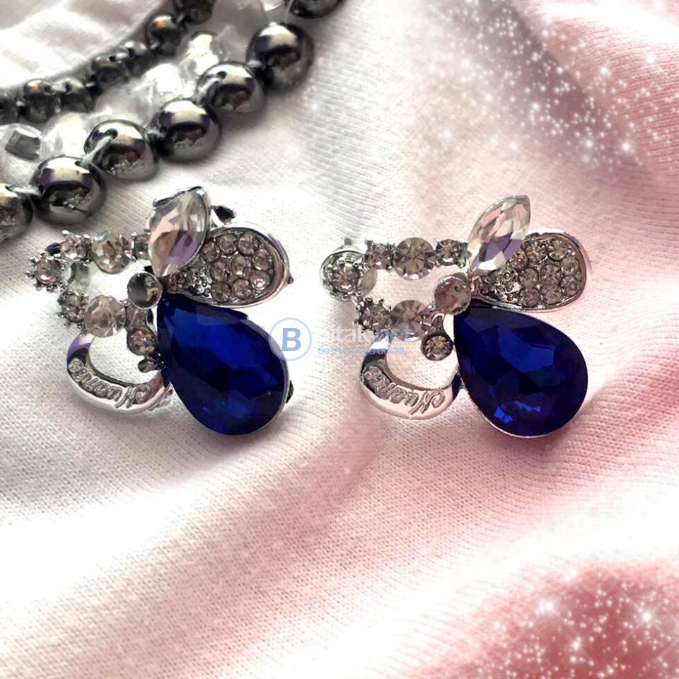 Дамски обеци с цветен камък обици с винтчета