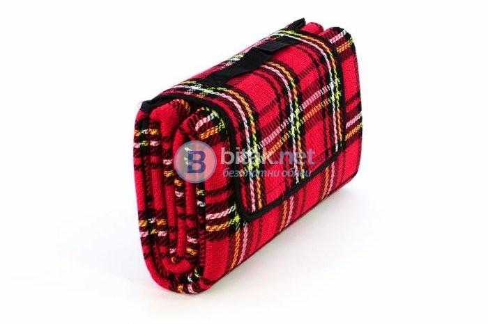 Водоустойчива пикник покривка, къмпинг покривка 150 х 130 см, червена
