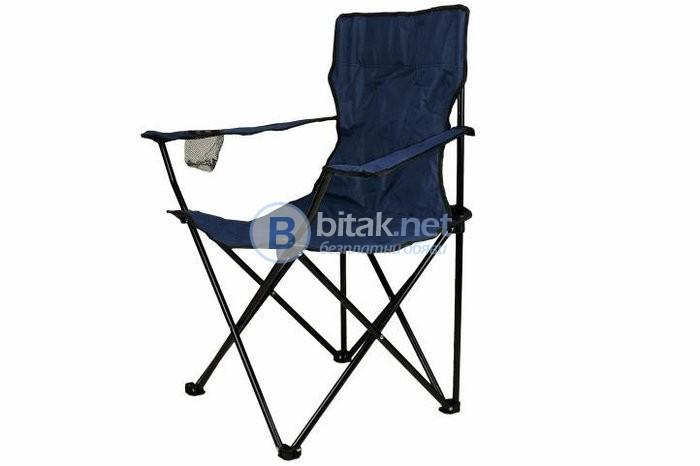 Рибарски стол, сгъваем стол, пикник стол, къмпинг стол, 120 кг, син