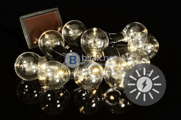 Соларни празнични 10 ЛЕД прозрачни крушки, соларно ЛЕД осветление, верига