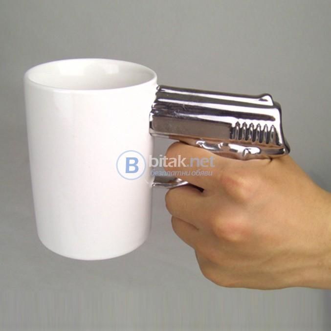 Керамична забавна чаша за чай с дръжка пистолет чаша за подарък за мъж