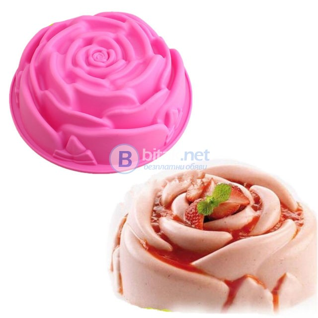 Силиконова форма за кекс РОЗА форма за печене сладкиш цвете
