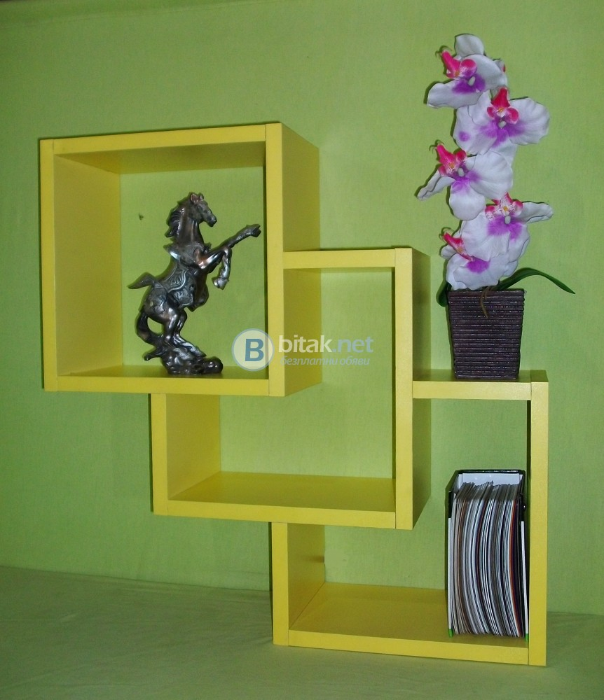 Етажерка за стена - Жълта