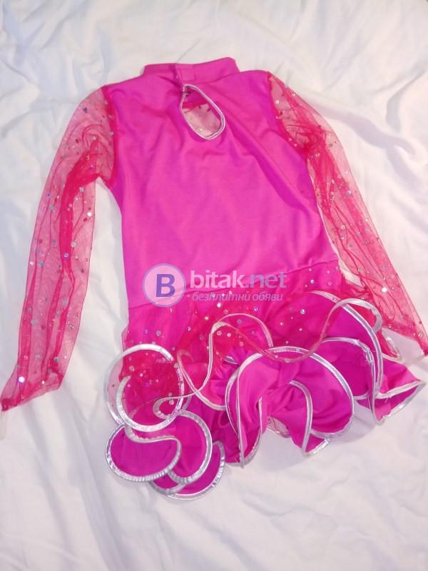 Бомбонено розова рокля със сребърен кант за танци или повод