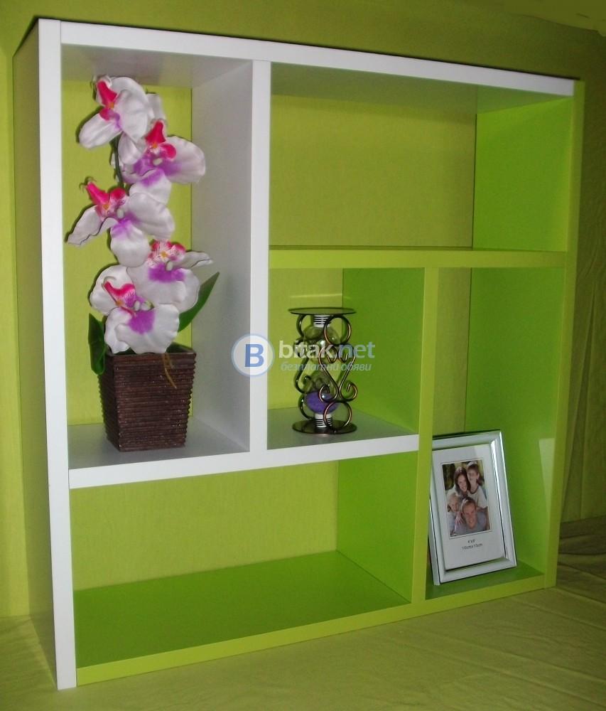 Етажерка за стена - Бяло и Зелено