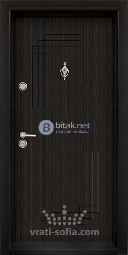 Блиндирана входна врата код Т111, цвят Черна перла