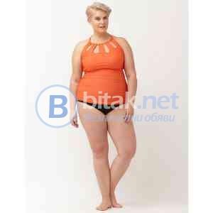 2xl/3XL - 24размер,brand Cacique, дизайнерски дамски бански рокля в цвят праскова, с долна част в ч